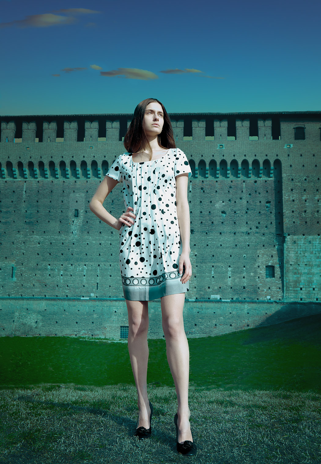 Girl in Bargello dress at Sforzesco Castle in Milan fashioneditorial