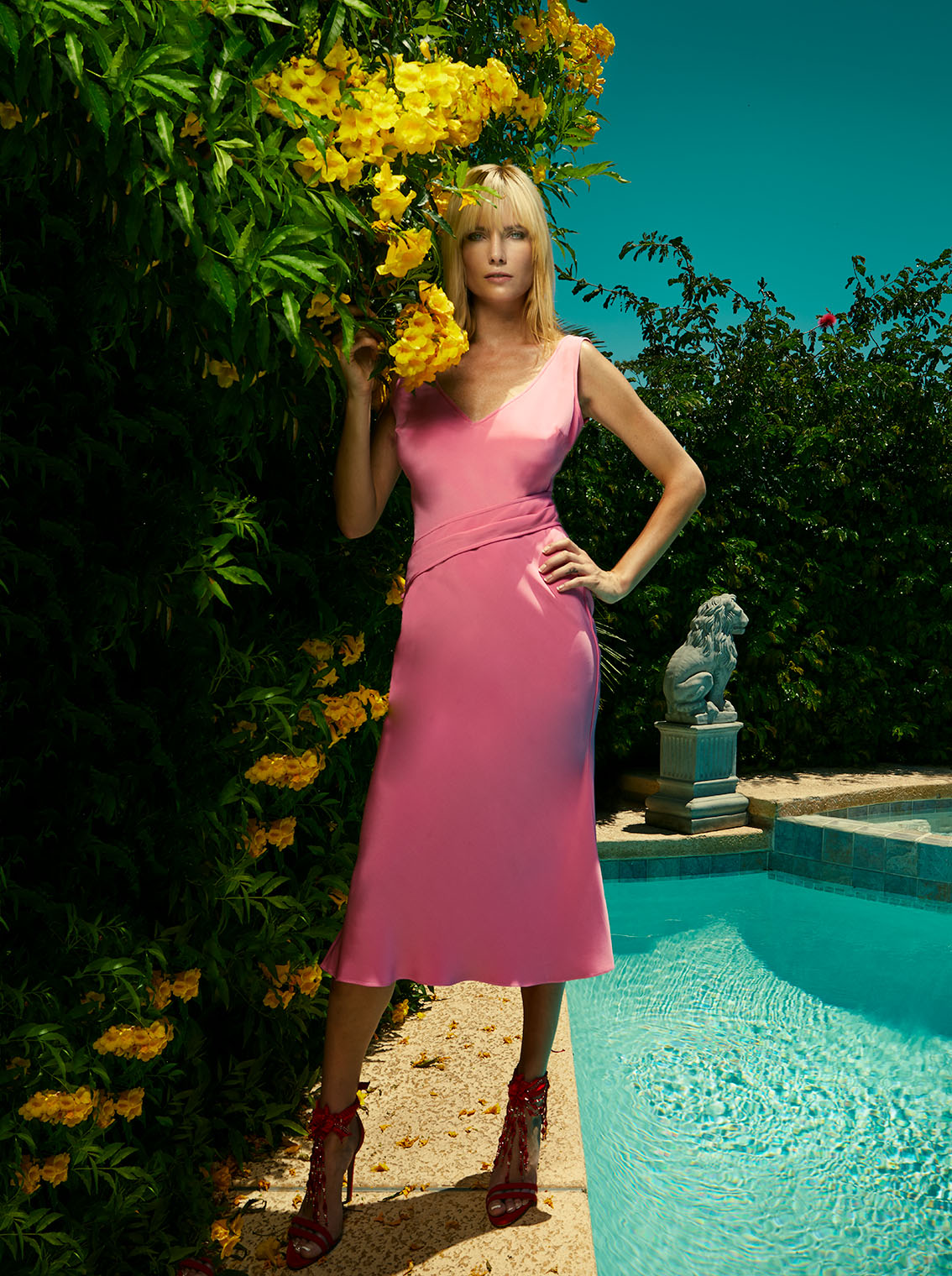 High Fashion Silk Dress at Pool - fashion photography  Los Angeles and New York - campaign and lookbook
